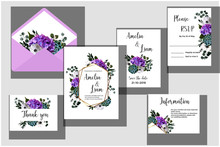 Floral Wedding Set Containing Invitation, Rsvp, Save The Date, Information, Thank You Cards, Envelope.Hydrangea, Anemone,succulent And Eucalyptus In Watercolor Style. Vector Illustration.Eps10
