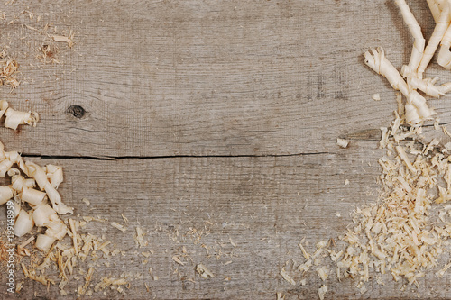 Fototapeta  top view sawdust. place for text