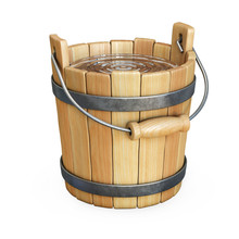 Wooden Bucket With Water Isola...