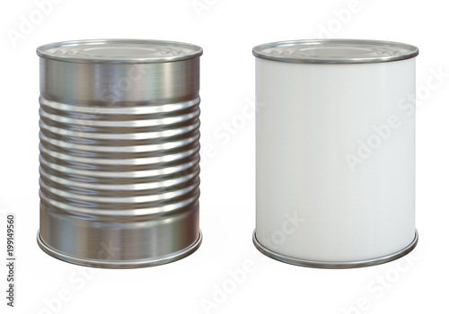 Photo Tin can mock up, aluminum can and blank copy space can isolated on white backgro