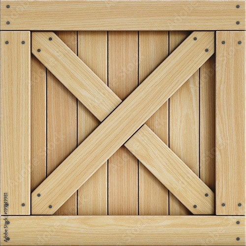 Wooden Crate Front View Cargo Box Texture 3d Rendering