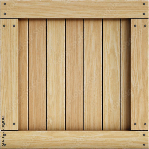 Wooden crate front view, cargo box texture 3d rendering © koya979