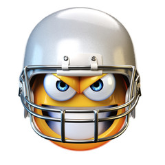 American football emoji isolated on white background, emoticon with football helmet 3d rendering