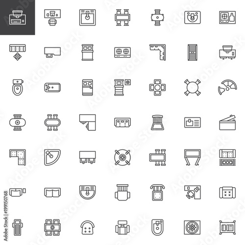 Furniture top view outline icons set. linear style symbols ...