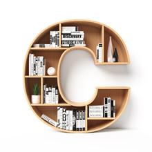 Bookshelves 3d Font. Alphabet In The Form Of Book Shelves. Mockup Font.  Letter C 3d Rendering