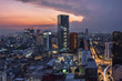 Aerial view of mexico city downtown skyscrappers at sunset time before night.