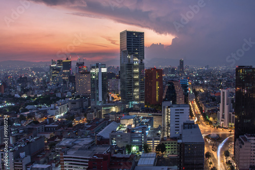 Poster Texas Aerial view of mexico city downtown skyscrappers at sunset time before night.