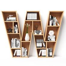 Bookshelves 3d Font. Alphabet In The Form Of Book Shelves. Mockup Font.  Letter W 3d Rendering