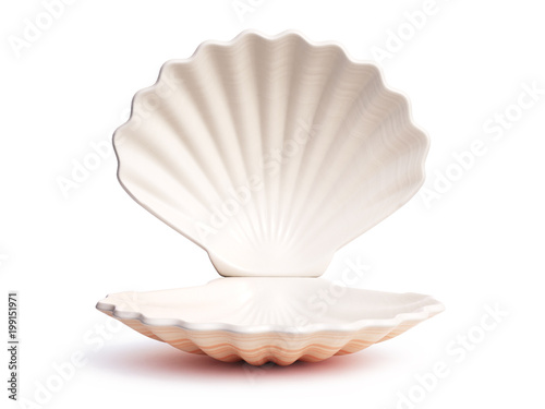 Foto Empty open seashell 3d rendering