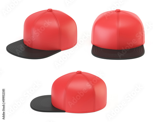 red and black snap back mock up blank hat template various views