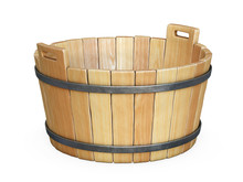 Wooden Bath Tub Isolated On Wh...