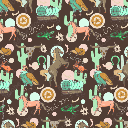 Wild west seamless pattern with horse, skull, cactus, wagon, lizard, scavenger o Canvas-taulu