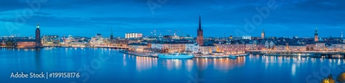 Photo  Stockholm skyline panorama in twilight, Sweden