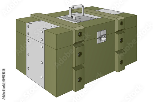 Fotografering Army ammunition box. Green military box