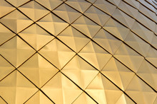 Close Up Shot Of A Golden Dome Of A Church, Cathedral Or Mosque. Background Metal Yellow Rectangle Pattern