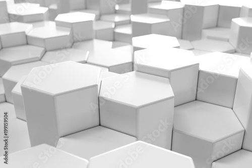 White geometric hexagonal abstract background, 3d rendering - 199159504