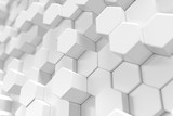 3D Rendering white geometric hexagonal abstract background.