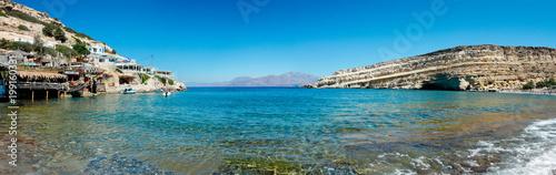 panoramique de Matala Beach au sud de la Crète