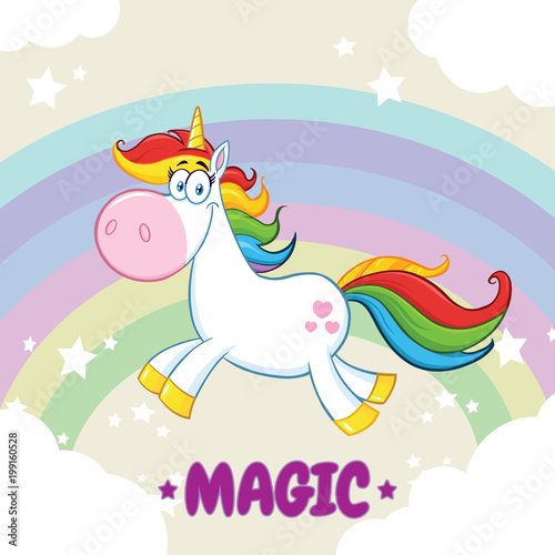 In de dag Regenboog Smiling Magic Unicorn Cartoon Mascot Character Running Around Rainbow With Clouds. Illustration With Background And Text Magic