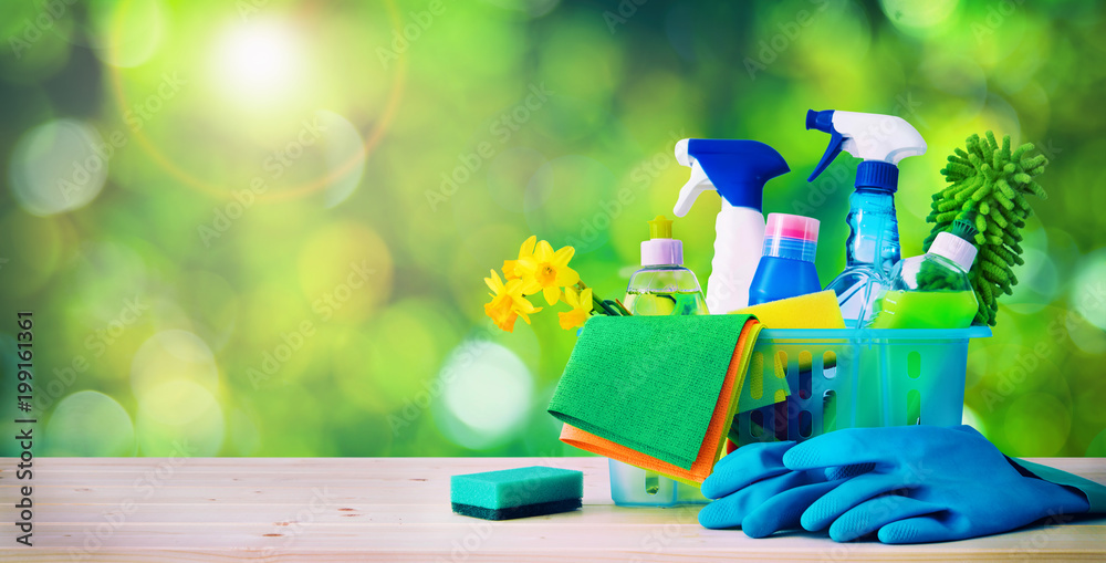 Fototapety, obrazy: Cleaning concept. Housecleaning, hygiene, spring, chores, cleaning supplies