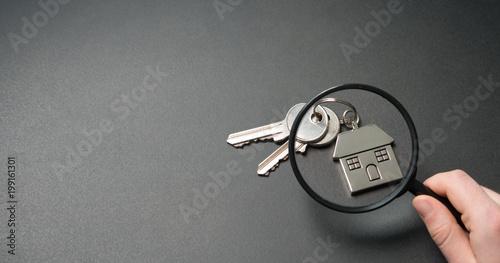 Fotografiet Wohnungssuche. Suche nach einer bezahlbaren Wohnung