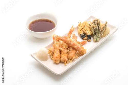 shrimps tempura (battered fried shrimps)on white background