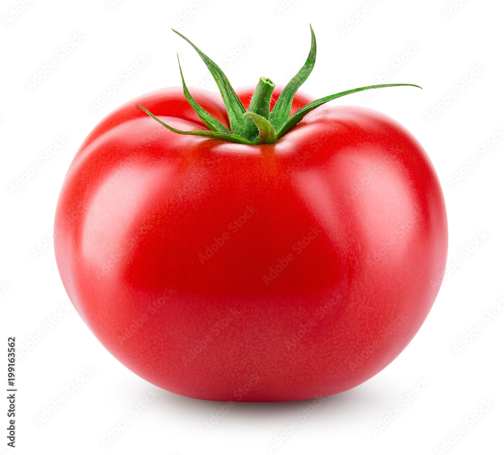 Fototapety, obrazy: Tomato isolated. Fresh tomato. With clipping path. Full depth of field.