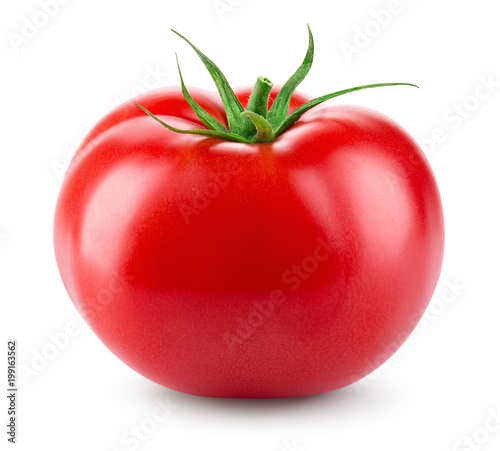 Tomato isolated. Fresh tomato. With clipping path. Full depth of field.