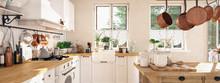 Retro Kitchen In A Cottage Wit...