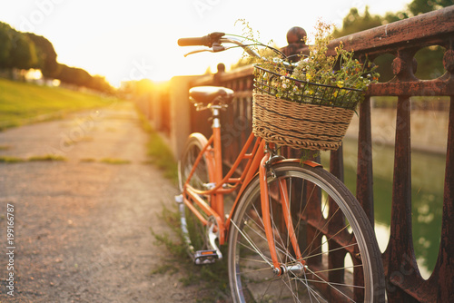 Photo sur Toile Velo Beautiful bicycle with flowers in a basket stands on the street