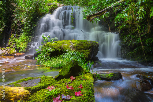 Fotobehang Grijs Mun daeng Waterfall, the beautiful waterfall in deep forest at Phu Hin Rong Kla National Park ,Phitsanulok, Thailand