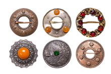 Set Of Antique Metal Latvian National Style Brooches, Izolate