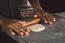 Men Hands Roll Out Dough Close...