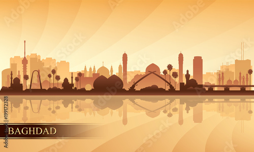 Fotografie, Tablou Baghdad city skyline silhouette background
