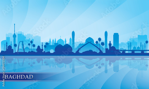 Fotografija  Baghdad city skyline silhouette background
