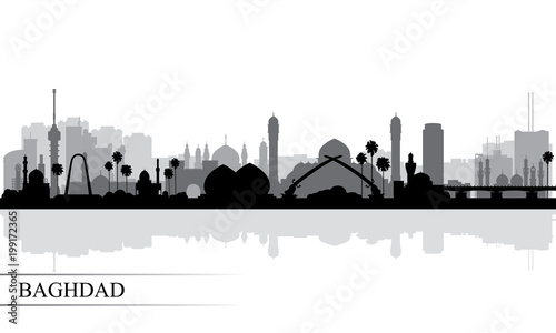 Baghdad city skyline silhouette background Fototapet