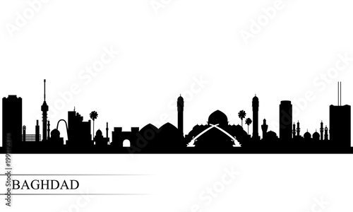 Baghdad city skyline silhouette background Tablou Canvas