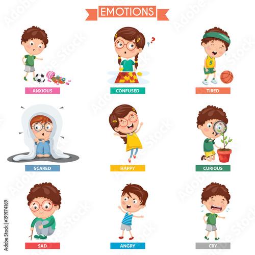 Leinwand Poster Vector Illustration Of Kid Emotions