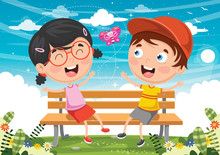 Vector Illustration Of Kids Si...