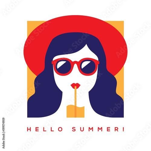 Plakaty do baru - pubu hello-summer-card-with-girl-in-sunglasses