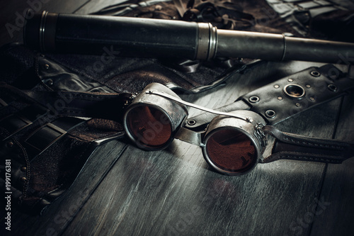 Fotomural  A beautiful still-life in the steampunk style with protective goggles