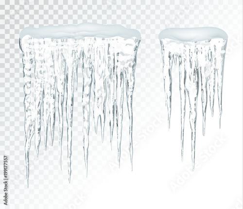 Photo  Transparent icicles, vector set.