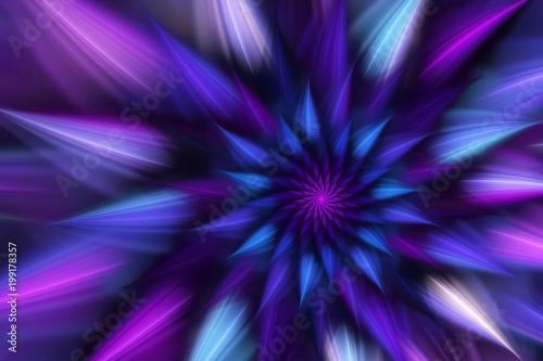 Abstract exotic flower with blue and violet petals Canvas Print