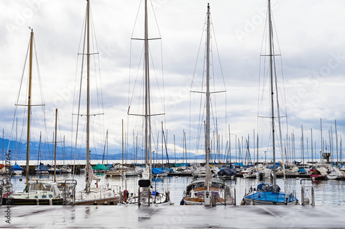 Private yachts in Lausanne's harbor