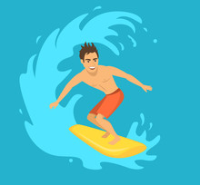 Male Surfer Riding A Wave Vect...