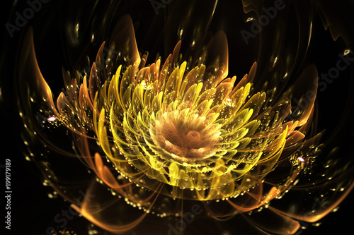 Photo  Abstract exotic flower with sparkling drops
