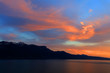 Sunset over Leman Lake, Geneva, Europe