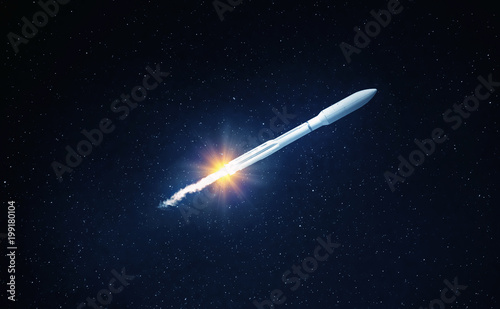 Flying space rocket in the night starry sky. Space exploration background. Elements of this image furnished by NASA.