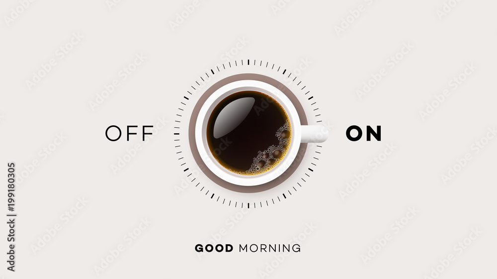 Fototapety, obrazy: Good Morning. Conceptual Motivation Illustration. Vector Cup Of Coffee