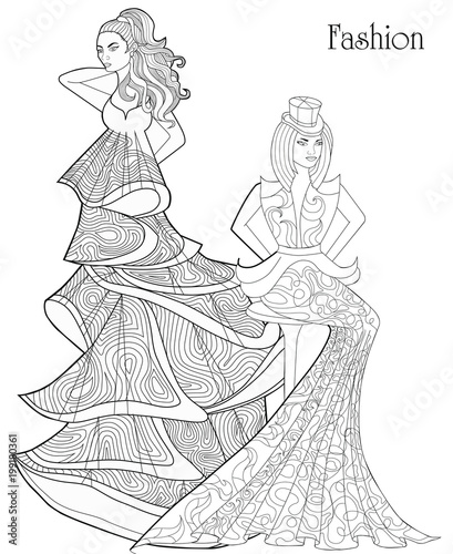 Color Therapy: Fashion. Anti-Stress Coloring Book. A pair of ...